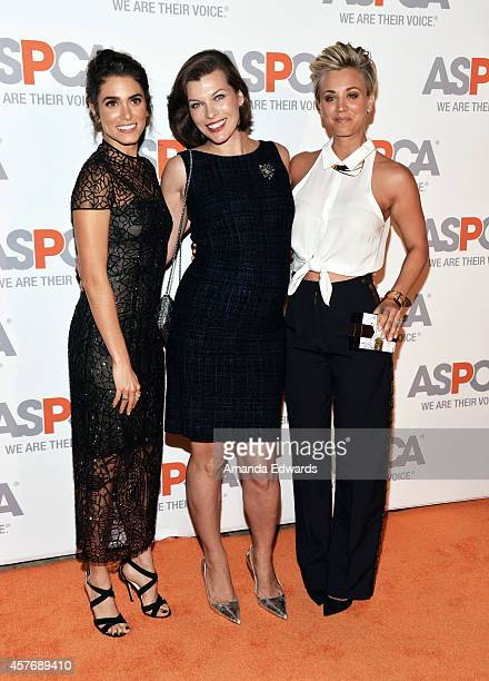 Actresses Nikki Reed Milla Jovovich and Kaley CuocoSweeting arrive at the ASPCA cocktail party honoring Kaley CuocoSweeting and Nikki Reed with ASPCA...