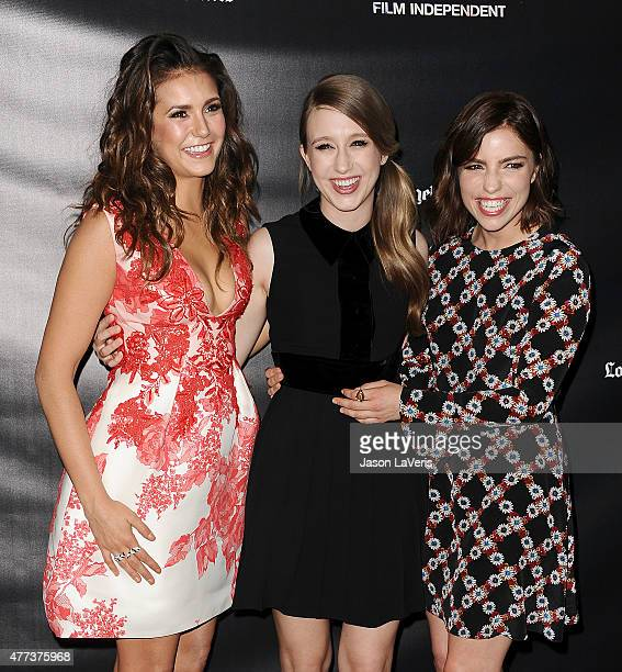 "Actresses Nina Dobrev, Taissa Farmiga and Angela Trimbur attend the premiere of ""The Final Girls"" at the 2015 Los Angeles Film Festival at Regal..."