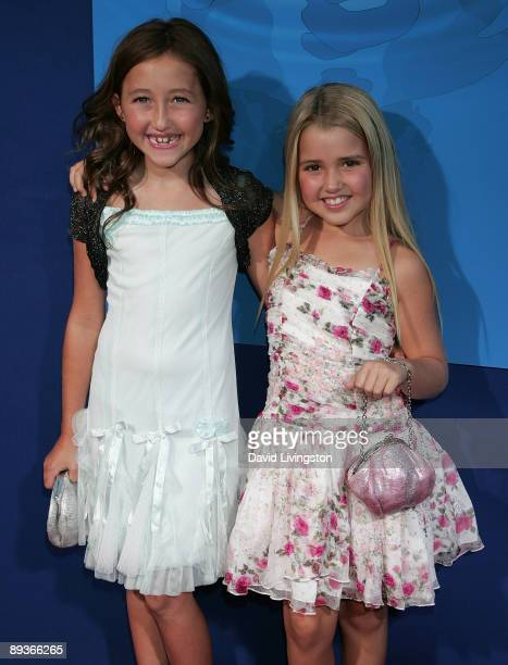 Actresses Noah Cyrus and Emily Grace Reaves attend an industry screening of Walt Disney Pictures' Ponyo at the El Capitan Theatre on July 27 2009 in...