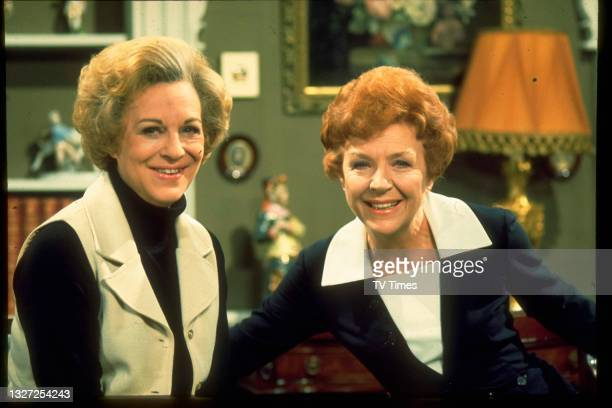 Actresses Noele Gordon and Joy Andrews in character as Meg Richardson amd Tish Hope in television soap Crossroads, circa 1975.