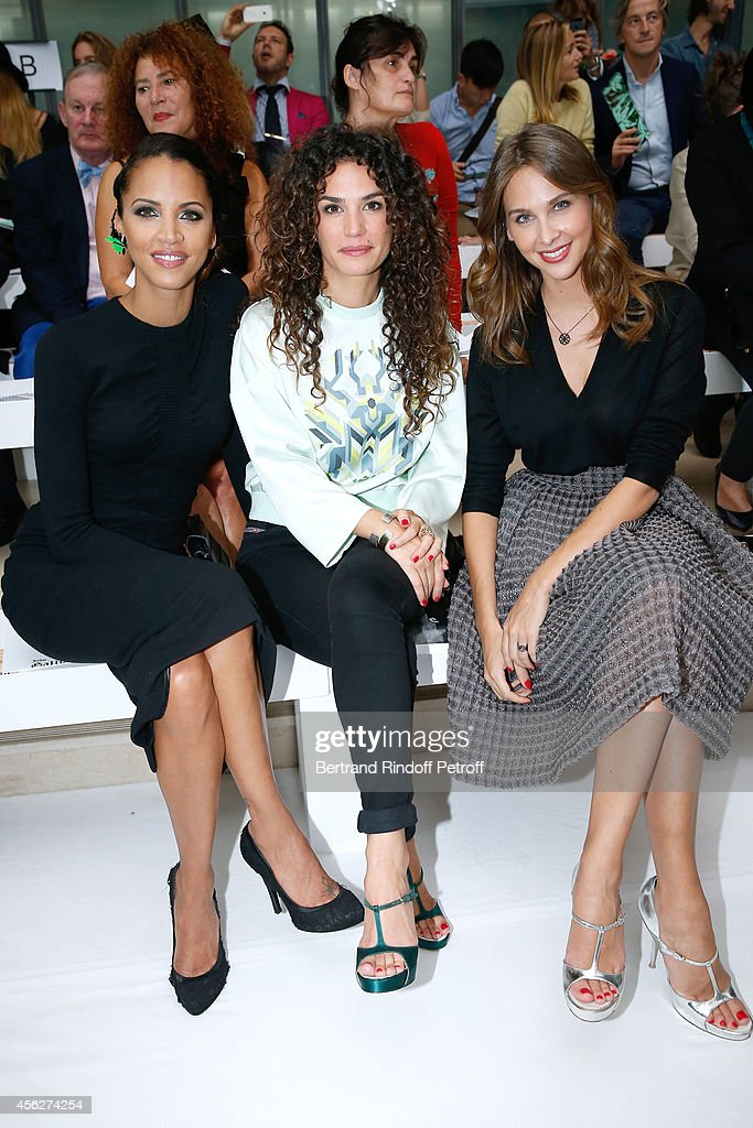 Actresses Noemie Lenoir, Barbara Cabrita and Ophelie Meunier attend the John Galliano show as part of the Paris Fashion Week Womenswear Spring/Summer 2015 on September 28, 2014 in Paris, France.