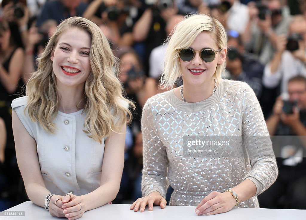 Actresses Nora von Waldstatten and Kristen Stewart attend the 'Personal Shopper' photocall during the 69th annual Cannes Film Festival at the Palais des Festivals on May 17, 2016 in Cannes, France.