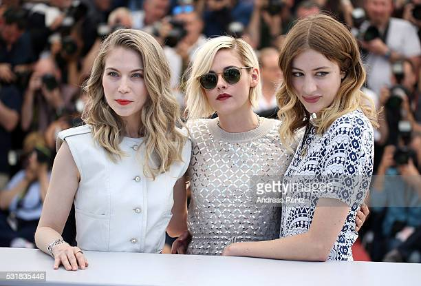 Actresses Nora von Waldstatten Kristen Stewart and Sigrid Bouaziz attend the 'Personal Shopper' photocall during the 69th annual Cannes Film Festival...