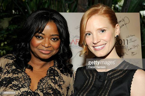 Actresses Octavia Spencer and Jessica Chastain arrive at at the 12th Annual AFI Awards held at the Four Seasons Hotel Los Angeles at Beverly Hills on...