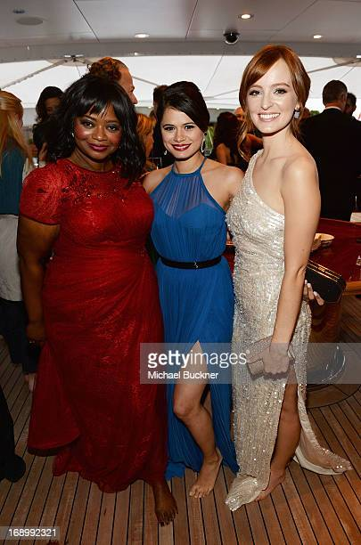 Actresses Octavia Spencer Melonie Diaz and Ahna O'Reilly attend the Fruitvale Station Cannes screening dinner held aboard the Harle Yacht on May 16...