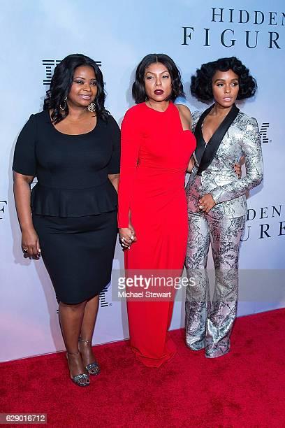 "Actresses Octavia Spencer, Taraji P. Henson and Janelle Monae attend the ""Hidden Figures"" New York special screening on December 10, 2016 in New York..."