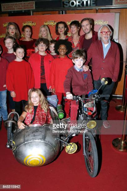 Actresses of the movie Gwendolyn Gourvenec Armelle Lesniak Virginie Hocq Director Nicolas Bary 'Le Petit Spirou' Sacha Pinault Pierre Richard and...