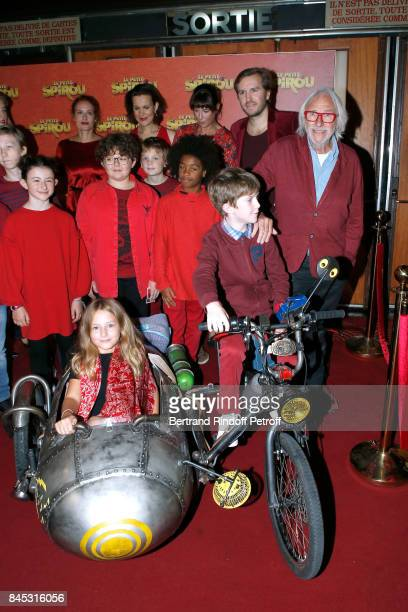 "Actresses of the movie Gwendolyn Gourvenec, Armelle Lesniak, Virginie Hocq, Director Nicolas Bary, ""Le Petit Spirou"" Sacha Pinault, Pierre Richard..."