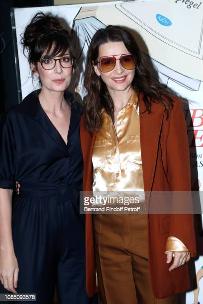 Actresses of the movie Nora Hamzawi and actress Juliette Binoche attend the Doubles Vies Premiere at UGC Cine Cite les Halles on December 20 2018 in...