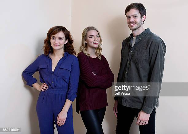 Actresses Olivia Cooke Anya TaylorJoy and filmmaker Cory Finley from the film 'Thoroughbred' pose for a portrait in the WireImage Portrait Studio...