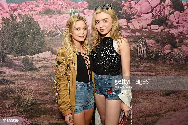 Actresses Olivia Holt and Peyton List attend the HM Loves Coachella Pop UP at The Empire Polo Club on April 15 2016 in Indio California