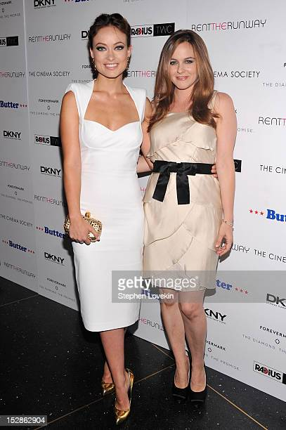 Actresses Olivia Wilde and Alicia Silverstone attend The Cinema Society with DKNY Forevermark RentTheRunwaycom premiere of 'Butter' at AMC Lincoln...