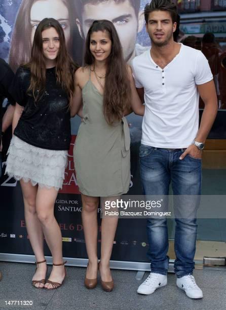 Actresses Ona Casamiquela Aida Flix and actor Maxi Iglesias attend 'El Secreto de los 24 Escalones' photocall at Palafox Cinema on July 2 2012 in...