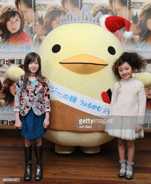 Actresses Onata Aprile and Kanon Tani attend 'What Maisie Knew' stage greeting at Cinemart Roppongi on November 18 2013 in Tokyo Japan