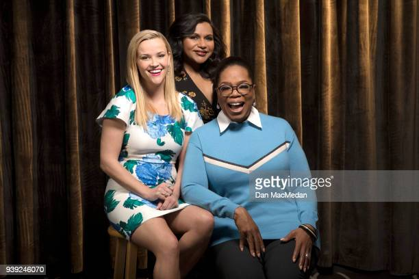 Actresses Oprah Winfrey Reese Witherspoon and Mindy Kaling are photographed for USA Today on February 25 2018 in Hollywood California PUBLISHED IMAGE