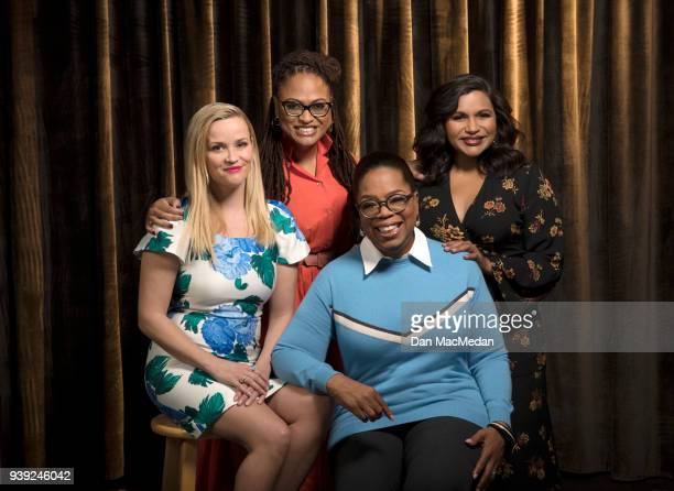 Actresses Oprah Winfrey Reese Witherspoon Mindy Kaling and director Ava DuVernay are photographed for USA Today on February 25 2018 in Hollywood...