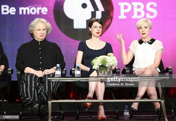 Actresses Pam Ferris Jessica Raine and Helen George speak onstage during the Call The Midwife panel discussion during the PBS Portion Day 2 of the...