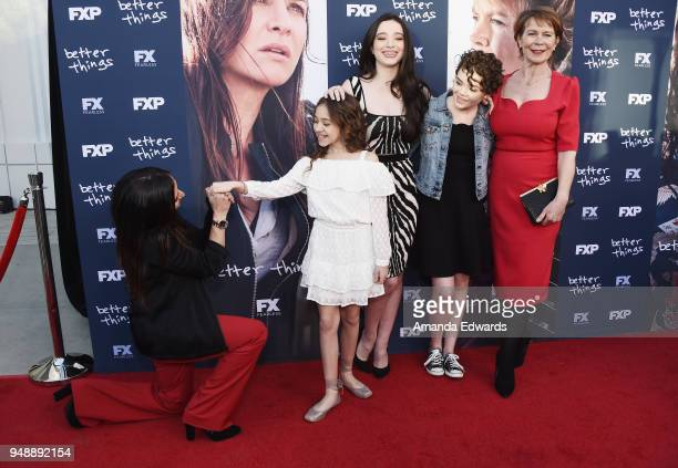 Actresses Pamela Adlon Olivia Edward Mikey Madison Hannah Alligood and Celia Imrie arrive at the FYC Event for FX's Better Things at the Saban Media...