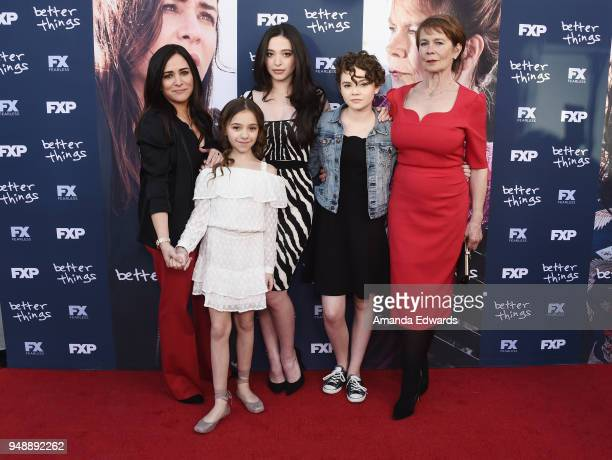 Actresses Pamela Adlon Olivia Edward Mikey Madison Hannah Alligood and Celia Imrie arrive at the FYC Event for FX's 'Better Things' at the Saban...