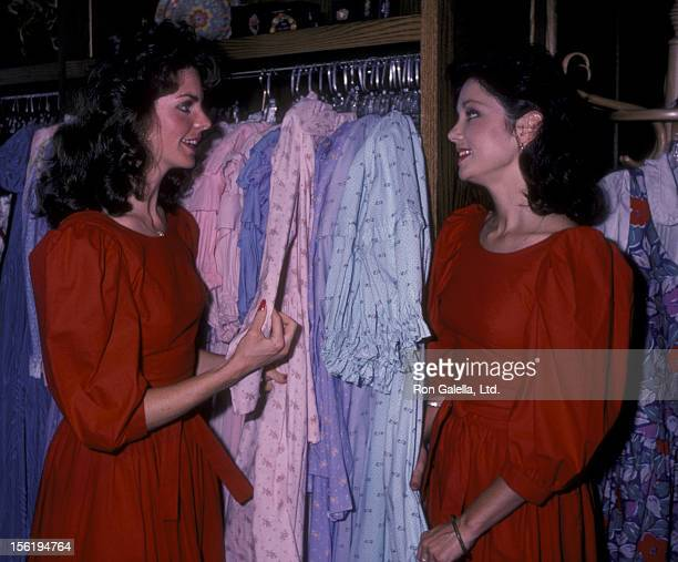 Actresses Pamela Harlow and Heidi Banks sighted on May 30 1984 at Laura Ashley Clothing Store in Beverly Hills California