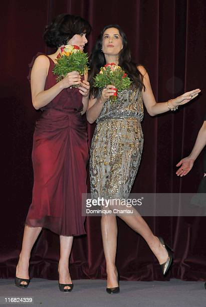 Actresses Parker Posey and Demi Moore attend the Happy Tears premiere during the 59th Berlin International Film Festival at the Berlinale Palast on...