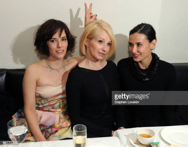 Actresses Parker Posey Ellen Barkin and Demi Moore attend the 'Happy Tears' screening after party hosted by the Cinema Society and Donna Karan at Mr...