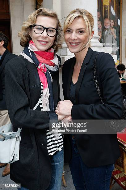 Actresses Pascale Arbillot and Judith El Zein attend the delivery of the medal of the Legion of Honor to actress Francoise Fabian at Theatre Edouard...