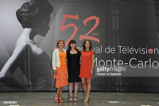 Actresses Pascale Roberts Cecilia Hornus and Dounia Coesens attend a photocall for 'Plus Belle La Vie' during the 52nd Monte Carlo TV Festival on...