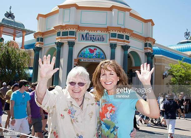 Actresses Pat Carroll and Jodi Benson who voiced the roles of Ursula and Ariel in Disney's 'The Little Mermaid' are reunited at the allnew attraction...