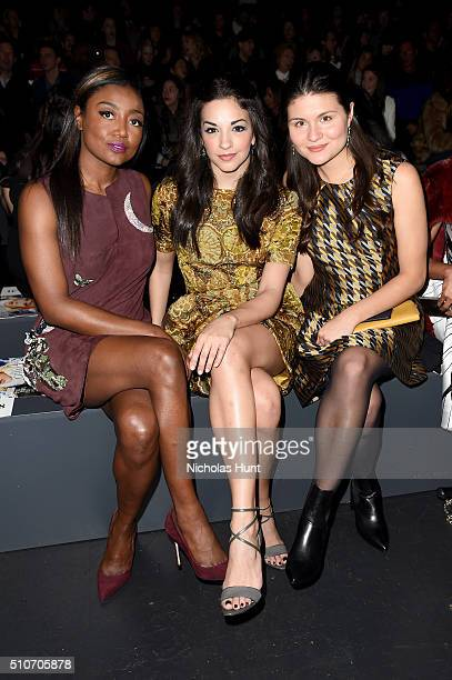 Actresses Patina Miller Ana Villafane and Phillipa Soo attend the Dennis Basso Fall 2016 fashion show during New York Fashion Week The Shows at The...