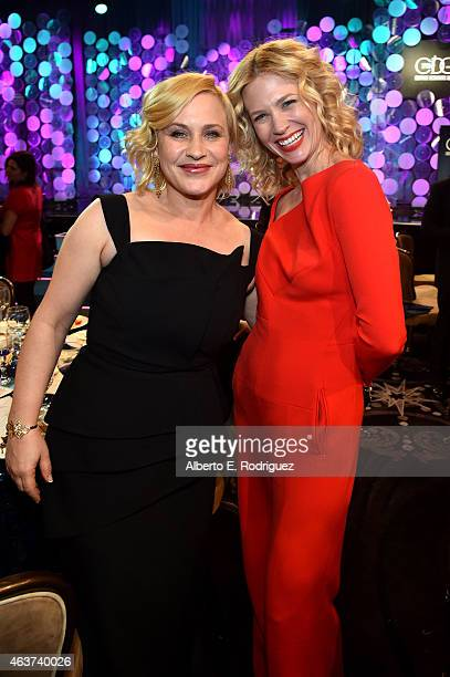 Actresses Patricia Arquette and January Jones attend the 17th Costume Designers Guild Awards with presenting sponsor Lacoste at The Beverly Hilton...