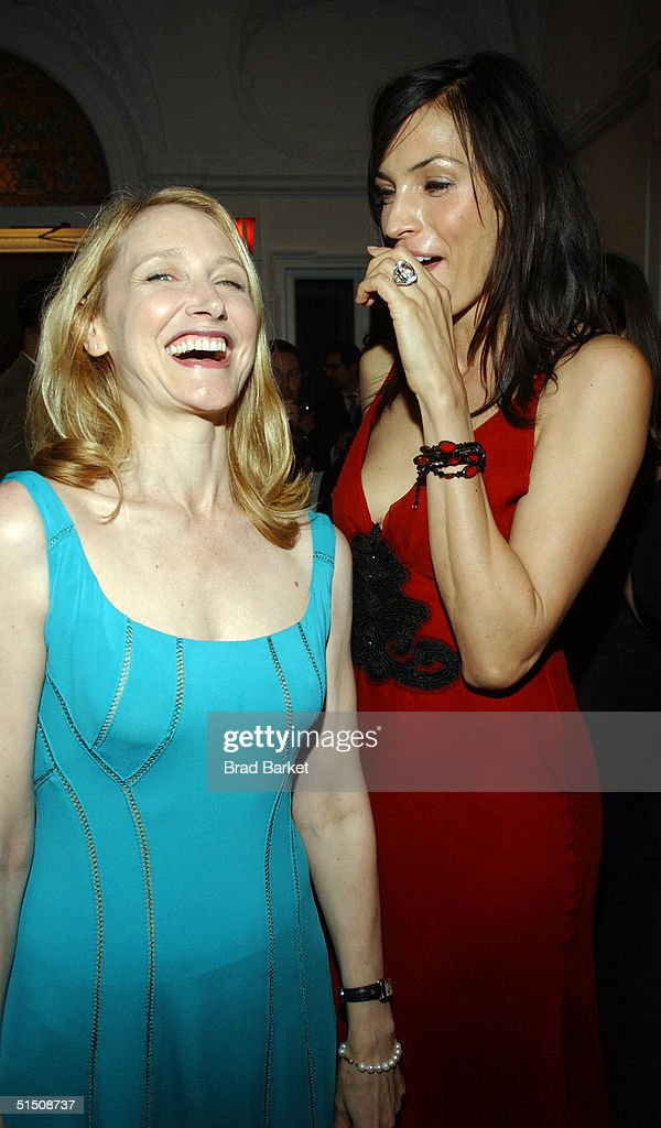 Actresses Patricia Clarkson and Famke Janssen arrive at the Cooper-Hewitt Museum's Fifth Annual National Design Awards Gala after party on October 19, 2004 in New York City.