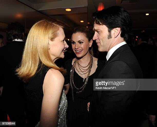 Actresses Patricia Clarkson, Anna Paquin and Stephen Moyer attend the 2010 Vanity Fair Oscar Party hosted by Graydon Carter at the Sunset Tower Hotel...