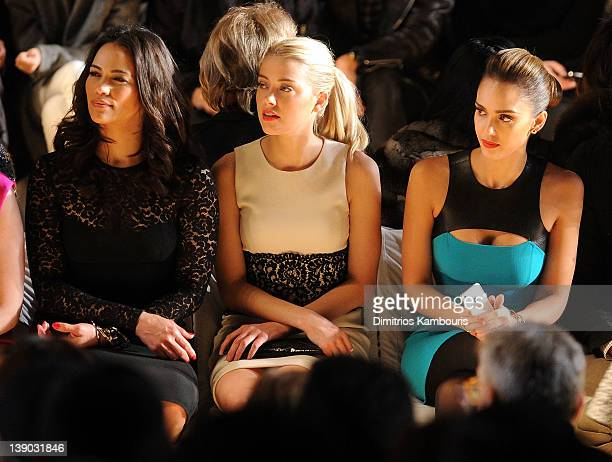 Actresses Paula Patton Amber Heard and Jessica Alba attend the Michael Kors Fall 2012 fashion show during MercedesBenz Fashion Week at The Theatre at...