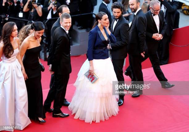 Actresses Pauline Burlet and Sabrina Ouazanim producer Alexandre MalletGuy actress Berenice Bejo actors Tahar Rahim and Ali Mosaffa and Cannes Film...