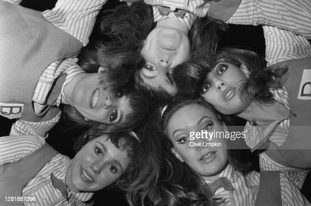 Actresses Pauline Collins, Jean Muir, Jane Birkin, Karin Fernald and Francesca Annis at the first night of the play 'Passion Flower Hotel', UK, 24th...