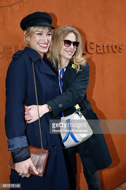 Actresses Pauline Lefevre and Pascale Arbillot attend Day Twelve of the 2016 French Tennis Open at Roland Garros on June 2 2016 in Paris France