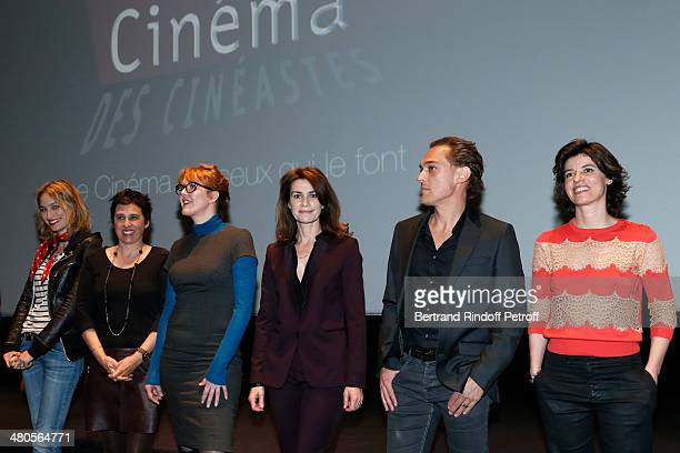 Actresses Pauline Lefevre Silvia Kahn Agnes Soral Valerie Kaprisky actor Jerome Cachon and actress Irene Jacob appear on stage prior to the private...