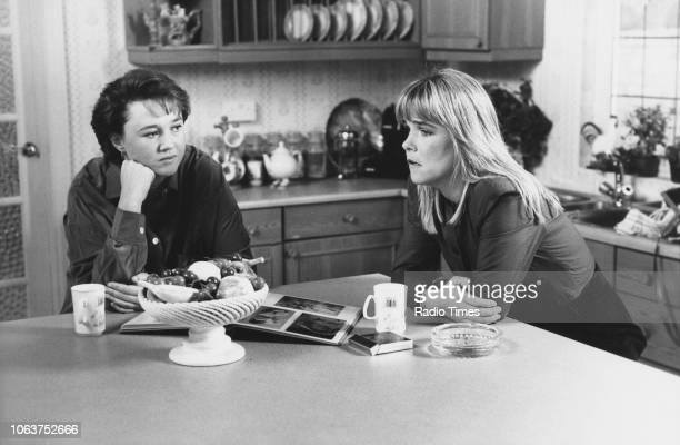 Actresses Pauline Quirke and Linda Robson in a kitchen scene from an episode of the television show 'Birds of a Feather' October 14th 1989