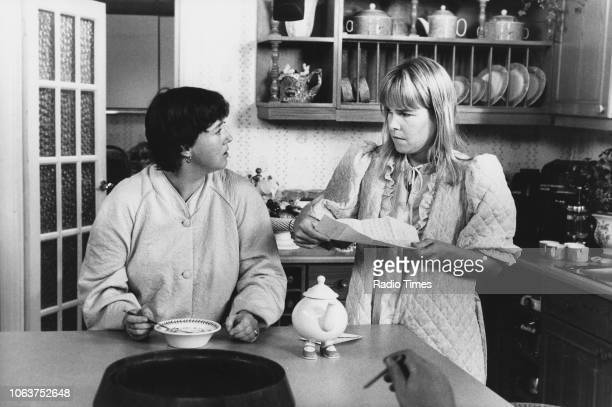 Actresses Pauline Quirke and Linda Robson in a kitchen scene from the 'Birds of a Feather' episode 'Just Visiting' September 30th 1989