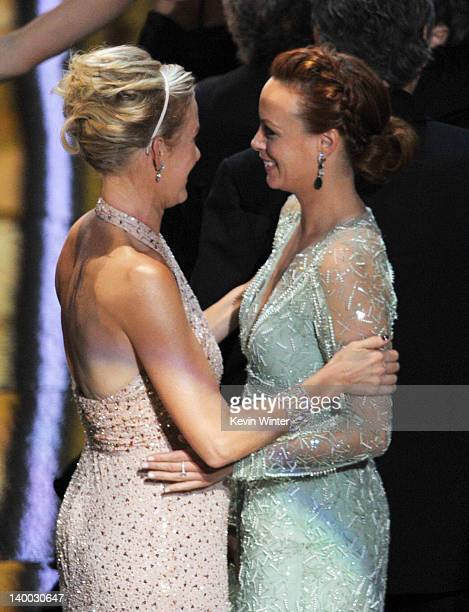 Actresses Penelope Ann Miller and Berenice Bejo celebrate 'The Artist' winning the Best Picture Award onstage during the 84th Annual Academy Awards...