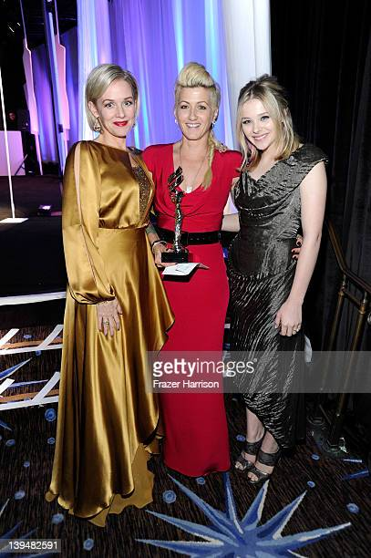Actresses Penelope Ann Miller and Chloe Grace Moretz and costume designer Trish Summerville pose with the Excellence in Contemporary Film award...