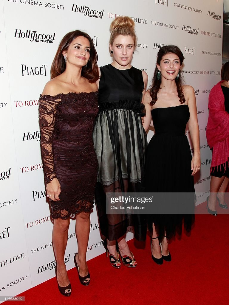 Actresses Penelope Cruz, Greta Gerwig and Alessandra Mastronardi attend The Cinema Society with the Hollywood Reporter & Piaget and Disaronno screening of 'To Rome With Love' at The Paris Theatre on June 20, 2012 in New York City.