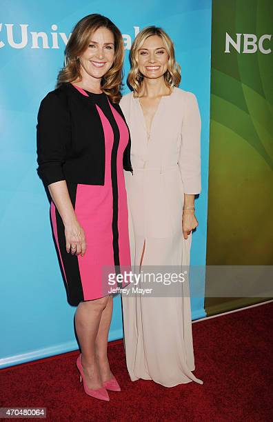 Actresses Peri Gilpin and Spencer Grammer attend the 2015 NBCUniversal Summer Press Day held at the The Langham Huntington Hotel and Spa on April 02...