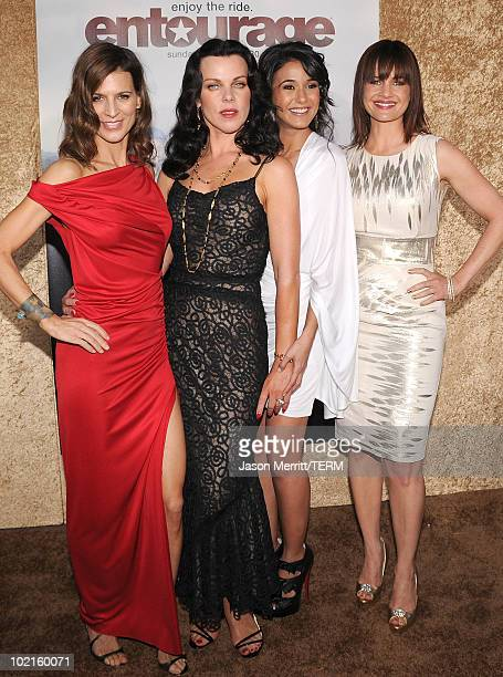 Actresses Perrey Reeves Debi Mazar Emmanuelle Chriqui and Carla Gugino arrive at HBO's Entourage Season 7 premiere held at Paramount Theater on the...