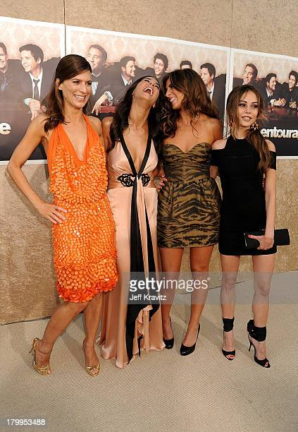 Actresses Perrey Reeves Emmanuelle Chriqui JamieLynn Sigler and Alexis Dziena arrive on the red carpet to HBO's official premiere of Entourage Season...