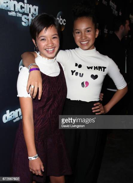 Actresses Peyton Elizabeth Lee and Sofia Wylie attend Dancing with the Stars Season 24 at CBS Televison City on April 24 2017 in Los Angeles...