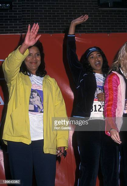 Actresses Phylicia Rashad and Ananda Lewis attending Fifth Annual Revlon RunWalk For Women on May 4 2002 at Central Park in New York City New York