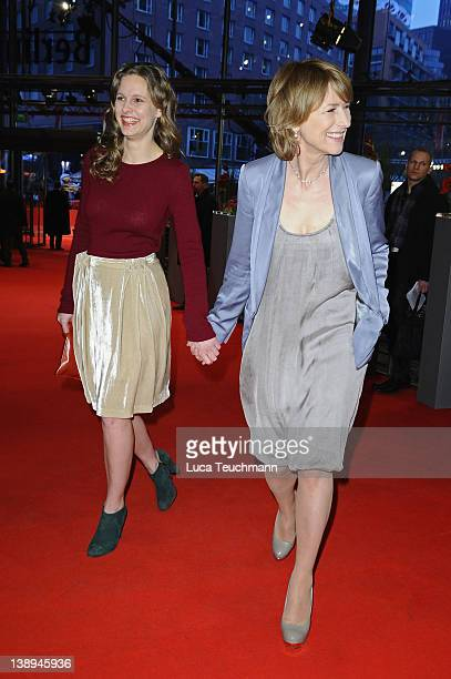 Actresses Picco von Groote and Corinna Harfouch attend the Was Bleibt Premiere during day six of the 62nd Berlin International Film Festival at the...