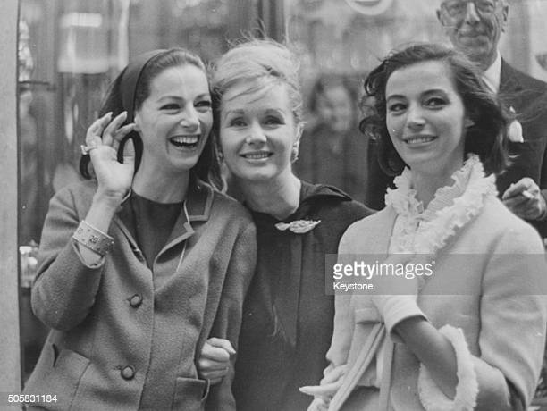 Actresses Pier Angeli Debbie Reynolds and Marisa Pavan pictured having fun shopping together in Rome May 1963